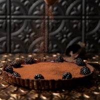 Salted Valrhona Chocolate & Blackberry Tart